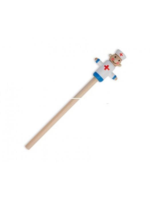Creion din lemn cu figurina
