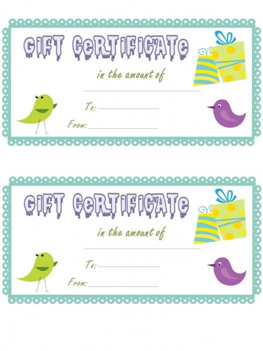 Gift certificate Birds 10buc/set